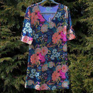 VFish Bright Floral V-Neck Shift Dress NWT